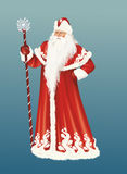 Santa Claus with staff on blue. Santa Claus in traditional long red robe and staff on blue background royalty free illustration