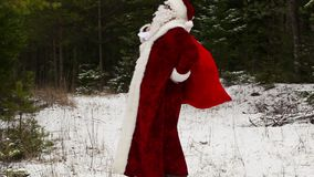 Santa Claus stanca con dolore alla schiena nel legno nevoso archivi video