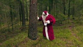 Santa Claus stanca vicino all'albero in legno stock footage