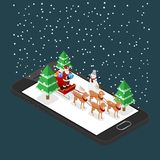 Santa claus stand and holding a gift on a sleigh with  six reaindeers on a black cellphone in Christmas theme, illustration vecton. Isometric 3d Santa claus Stock Photos
