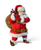 Santa Claus standing with a bag having toys inisde Stock Images