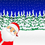 Santa Claus standing in the forest illustration holiday Royalty Free Stock Images