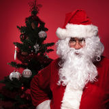 Santa claus is standing in front of a christmas tree Stock Photography