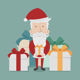 Santa Claus standing gift boxes falling down around him Stock Photos