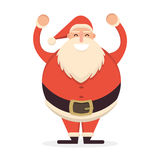 Santa Claus standing with his hands up. Cute cartoon cheerful an. D smiling Father Frost character raising arms. Flat style vector illustration Stock Photo
