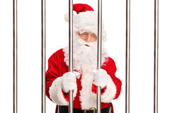 Santa Claus standing in a prison Stock Photo
