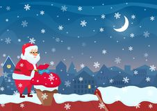 Santa Claus standing on roof and putting bag with presents to chimney. Cartoon christmas illustration. Stock Photos