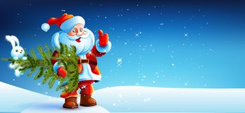 Santa Claus standing in the snow with a bag of. Gifts and showing thumb up. Santa flying around the snowflakes. He stands against a dark blue sky with stars Stock Images