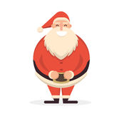 Santa Claus standing straight with his hands on belt. Cute carto. On cheerful and smiling Father Frost character running. Flat style vector illustration Royalty Free Stock Photos