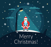 Santa Claus stands with a gift in the hands of the night under a street lamp. Merry Christmas and Happy New Year. Vector Stock Images
