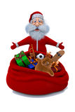 Santa Claus stands near a sack with gifts Stock Images