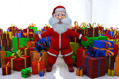 Santa Claus stands round the great number of gifts Stock Photography