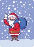 Santa Claus stante che ondeggia con il sacco dei regali illustrazione vettoriale