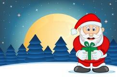 Santa Claus With Star-, Himmel-und Schnee-Hügel-Hintergrund-Vektor-Illustration Lizenzfreies Stockbild