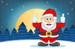 Santa Claus With Star-, Himmel-und Schnee-Hügel-Hintergrund-Vektor-Illustration Lizenzfreie Stockfotos