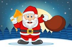Santa Claus With Star-, Himmel-und Schnee-Hügel-Hintergrund-Vektor-Illustration Stockbilder