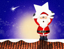 Santa Claus with star on roof. Illustration of Santa Claus on roof Royalty Free Stock Image