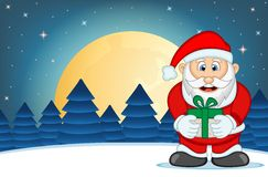 Santa Claus With Star, Sky And Snow Hill Background Vector Illustration Royalty Free Stock Image