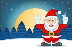 Santa Claus With Star, Sky And Snow Hill Background Vector Illustration Royalty Free Stock Photography