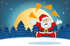 Santa Claus With Star, Sky And Snow Hill Background Vector Illustration Royalty Free Stock Images