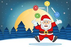 Santa Claus With Star, Sky And Snow Hill Background Vector Illustration Stock Photos