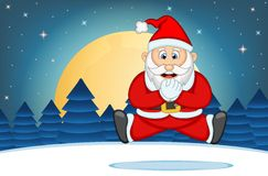 Santa Claus With Star, Sky And Snow Hill Background Vector Illustration Stock Photography