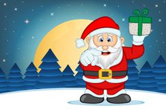 Santa Claus With Star, Sky And Snow Hill Background Vector Illustration Royalty Free Stock Photo