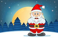 Santa Claus With Star, Sky And Snow Hill Background Vector Illustration Stock Image