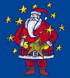 Santa Claus and stars Stock Image