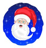 Santa Claus and Stars Cartoon. Is an vector based illustration document. Smiling Santa Claus is in front of the night sky stars Royalty Free Stock Photography