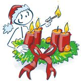 Santa Claus starts a christmas wreath and candlelight vector illustration