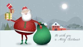 Santa Claus steht in einer Weihnachtslandschaft mit dem grünen Sack voll von Geschenken und einigen speziellen von für Sie still lizenzfreie abbildung