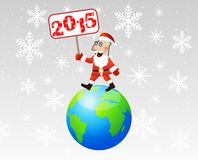 Santa claus steps on earth with a banner 2015 year in hands. Vector illustration Royalty Free Stock Images