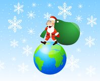 Santa claus steps on earth with the sack of gifts Royalty Free Stock Photos