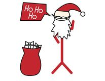 Santa claus stickman vector illustration. Santa claus stick figure with speak bubble and bag with gift box. simple vector christmas illustration Stock Photo
