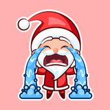 Santa Claus Sticker emoji emoticon. Sticker emoji emoticon, emotion sob, cry, weep, vector isolated illustration happy character sweet, cute Santa Claus, Father Stock Photo