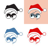 Santa Claus sticker evil looks away Emotions Vector set Stock Photos