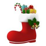 Santa Claus-Stiefel angefüllt mit Geschenken Abbildung 3D Stockfoto