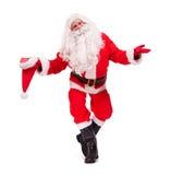 Santa Claus-stokvoering met hoed royalty-vrije stock fotografie