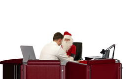 Santa Claus is strong and healthy, Doctor measuring blood pressure, against white, stock footage Stock Image