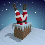 Santa Claus stuck in the chimney. (3D illustration&#x29 Stock Photography