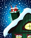 Santa Claus stuck in the chimney royalty free illustration