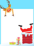 Santa Claus stuck in the chimney card Stock Photo