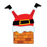 Santa Claus stuck in the Chimney. Christmas background Stock Photos