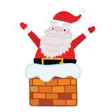 Santa Claus stuck in the Chimney. Royalty Free Stock Image