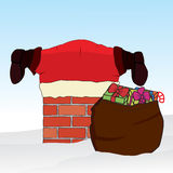 Santa Claus stuck in the chimney. Christmas background. Vector. Illustration Royalty Free Stock Photography