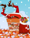 Santa Claus stuck in chimney Royalty Free Stock Image
