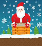 Santa Claus stuck in chimney,  illustration Royalty Free Stock Image