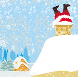 Santa Claus stuck in the chimney Royalty Free Stock Images
