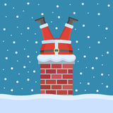 Santa Claus stuck in the chimney on the roof. Christmas flat style vector illustration Royalty Free Stock Images